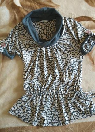 Кофта блуза туника футболка серая трикотажная s-m леопардовый ...