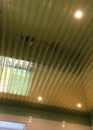 Реечный алюминиевый потолок Бард ППР-084 цвет зеркальный хром