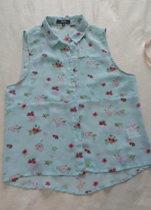 Легка блузка з фламінго