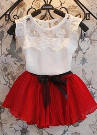 Детский костюм, нежная маечка, плиссированная юбка 1239