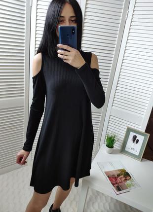 Платье в рубчик с открытыми плечами booboo, р-р  s