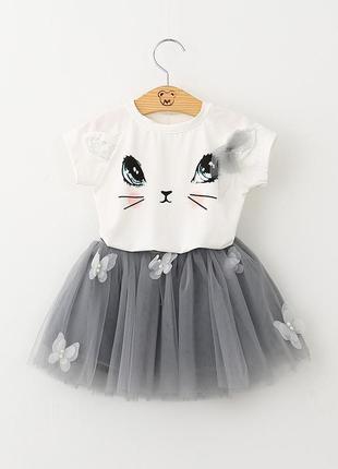 Детский костюм, футболка кошечка, пышная фатиновая юбка 1237