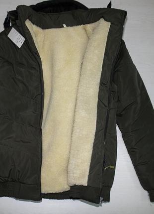 Зимняя мужская куртка на овчине и синтепоне на меху 50-58рр  хаки