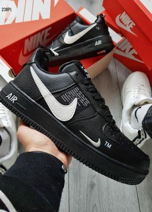💎nike air force low 19 black white winter💎мужские зимние кросс...