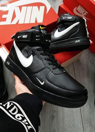 ✳️зимние nike air force high black winter✳️мужские чёрные крос...