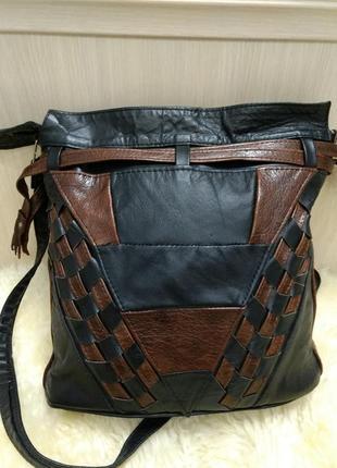 Кожаная сумка торба на плечо