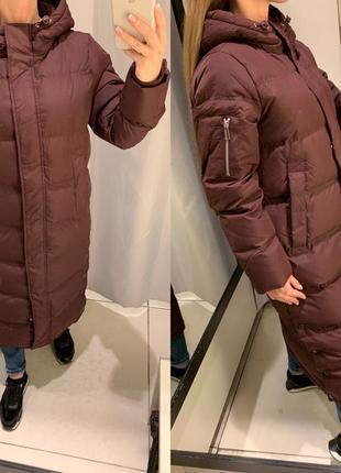 Бордовый зимний пуховик тёплая куртка курточка reserved есть р...