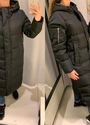 Чёрный зимний пуховик куртка курточка reserved есть размеры