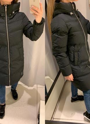 Стеганое чёрное пальто на пуху куртка курточка reserved есть р...
