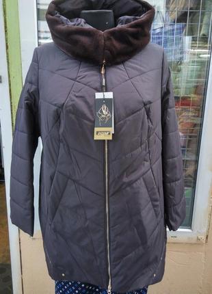Удлиненная куртка полупатьто большого размера 70