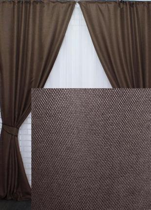 Комплект готовых штор рогожка лен