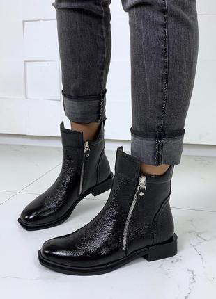 Зимние ботинки из натуральной кожи, кожаные ботинки на низком ...