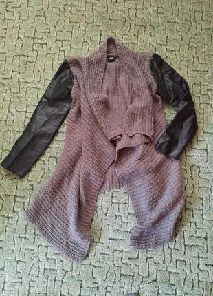 Пальто плащ накидка asos вязанное с кожаными рукавами