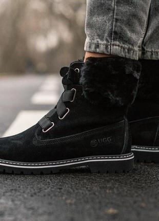 Ugg boot fur black! женские зимние сапоги/ ботинки/ луноходы/...