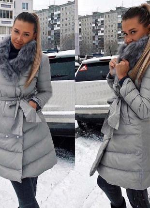 Женская куртка с мехом воротником и пропиткой антиснег