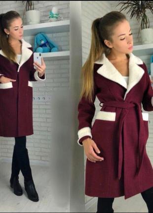 Женское двухцветное кашемировое пальто