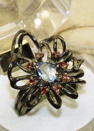 Кольцо с голубым топазом, серебро 925, р.17,8 и больше