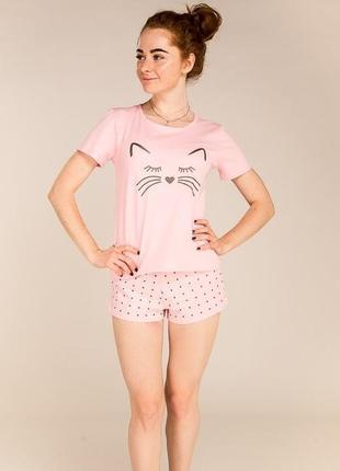 Милая легкая пижама домашний комплект костюм с принтом котика