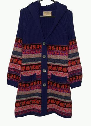 Крутой вязанный кардиган с капюшоном в стиле бохо, этно раскра...