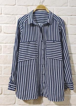 Классная, стильная, натуральная рубашка в полоску