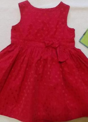 """Красное нарядное платье в горох """"marks&spencer"""", 6-9 месяцев, ..."""