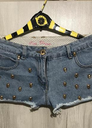 """Шорты джинсовые """"черепа"""""""