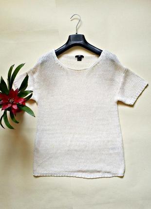 Молочный джемпер свободного кроя,свитер с коротким рукавом