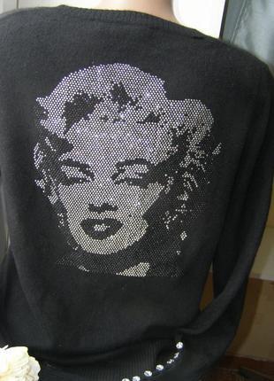Kate & jack 100% кашемировый пуловер стразы  с мерилин монро m...