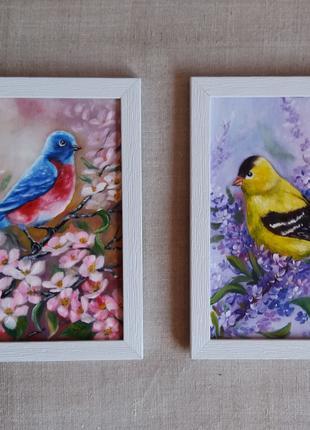 Картина маслом птицы и цветы