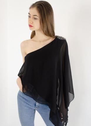 Брендовая шифоновая блуза debenhams на одно плечо бисер паетки