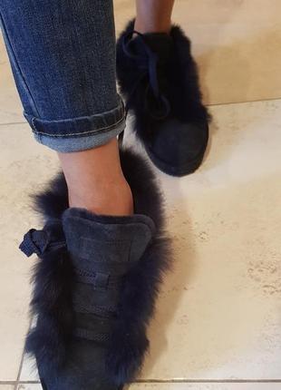 Ботинки замшевые с опушкой