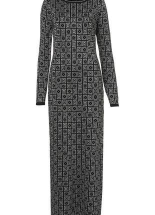 Вязаное платье в пол с серебристым геометрическим принтом tops...