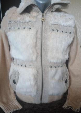 Куртка с натуральным мехом кролика.