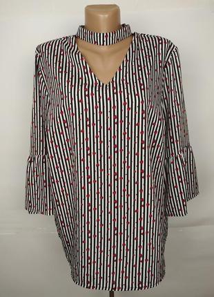 Стильная блуза в полоску с сердечками с чекером uk 18/46/xxl