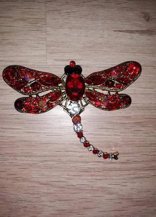 Брошь стрекоза красная