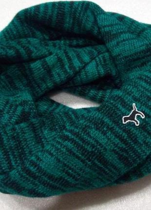 Базовый меланжевый зеленый шарф хомут снуд от victoria's secre...