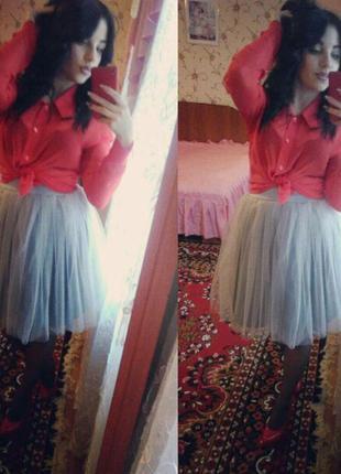 Серая юбка из фатина (юбка пачка)