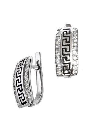 Серебряные серьги «греция» с эмалью