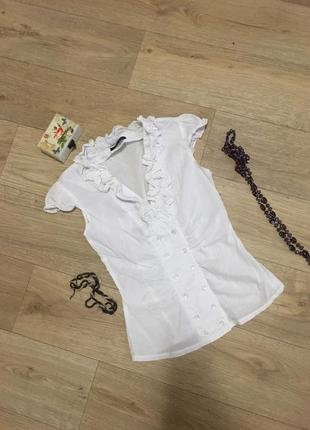 Белая деловая блуза с коротким рукавом