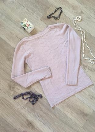 Тёплый нежно розовый пудровый свитер