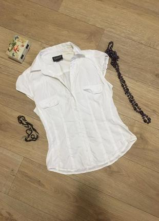 Белая рубашка с коротким рукавом oodji