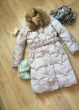 Теплый длинный пуховик пальто с натуральным мехом