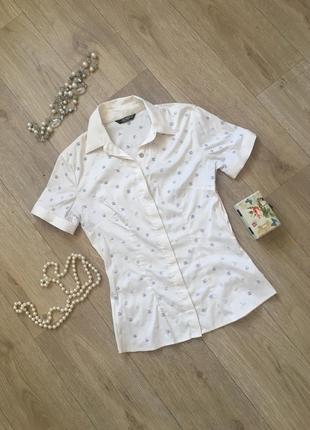 Бежевая рубашка с коротким рукавом