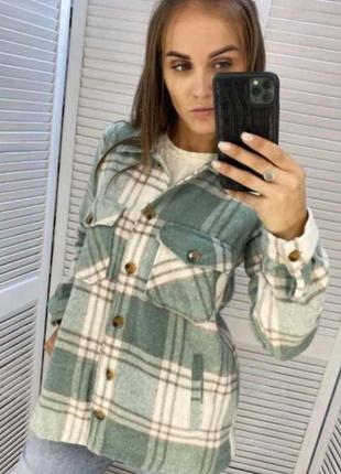 Клетчатая рубашка пальто теплая
