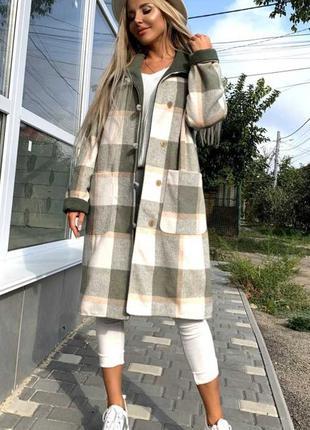 Пальто клетчатое кашемировое