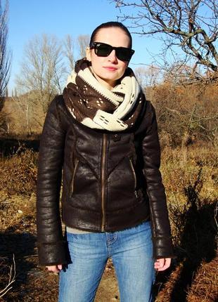 Женская коричневая куртка дубленка на молнии с мехом george де...