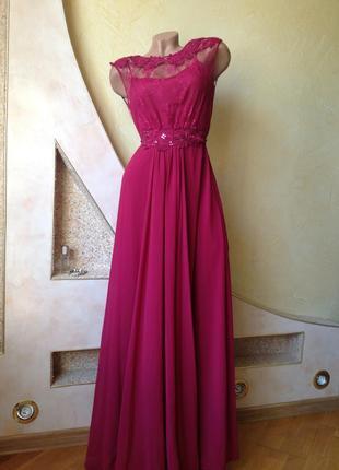 Вечернее выпускное брендовое бордовое длинное платье максив по...