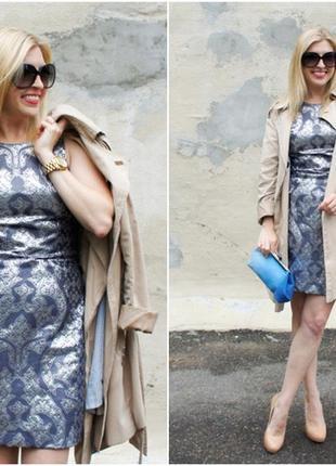 Серебристое  платье металлик h&m