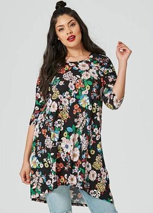 Длинная блуза туника свободного кроя большого размера с цветоч...