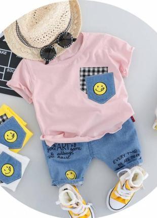 Літній костюм хлопчикові карман рожева футболка 3397